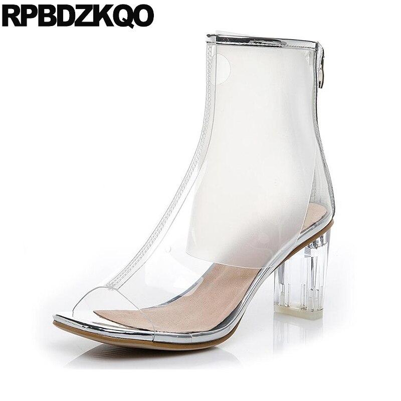 dadea8882 De Do Pé Salto prata Verão À Da Novo Claro Transparente Botas Pvc Alto  Sapatos Preto Mulheres ...