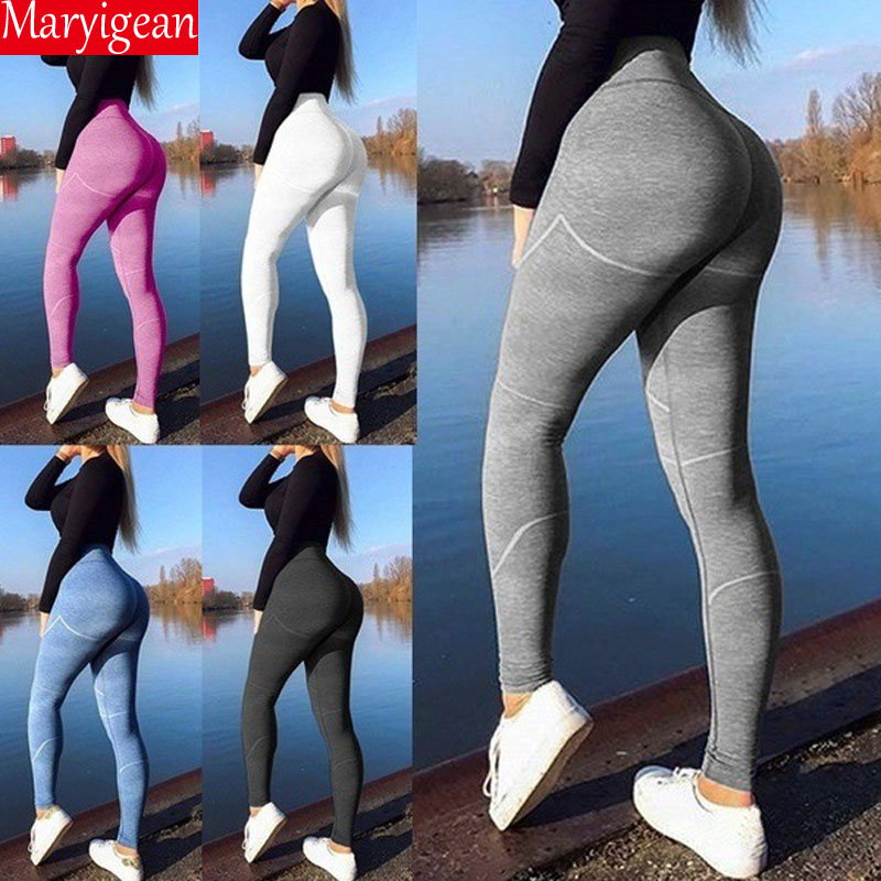Maryigean Women High Waist Booty Leggings Push Up Leggings Workout Fitness Active Pants Girls Sports Sim Striped Leggings