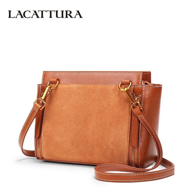 LACATTURA Women Handbag Cow Split Leather Shoulder Bags Lady Fashion Suede Cowhide Wings Bag Crossbody for Girls lacattura small bag women messenger bags split leather handbag lady tassels chain shoulder bag crossbody for girls summer colors