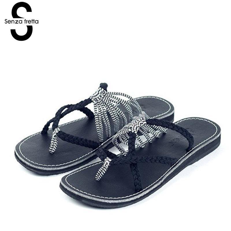 Senza Fretta Summer Women Slippers Flip Flops New Arrival Casual Beach Women Sandals Flip Flops Slippers Women Shoes Plus Size