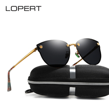 LOPERT Fashion Polarized Cat Eye Sunglasses Women Brand Designer HD Glasses Carved roses High Guality Sun UV400