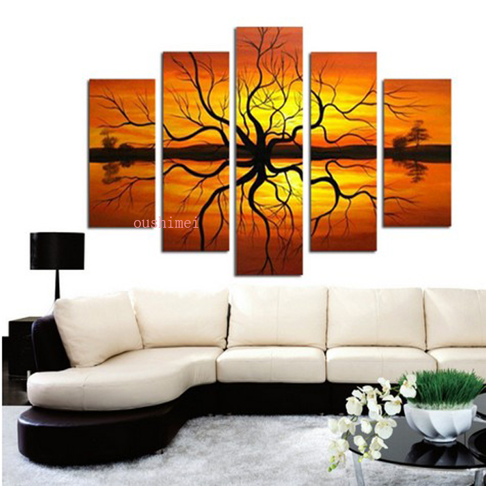 Top Handmade 5 Pcs Modern Picture On Canvas Abstract Oil Painting Wall Art Landscape Pictures Sunrise In Calligraphy