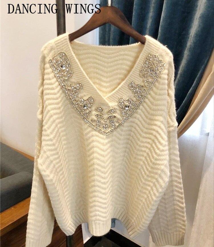 Femmes à la main sequin perles à manches longues pull pull printemps sexy col en V dames top en tricot