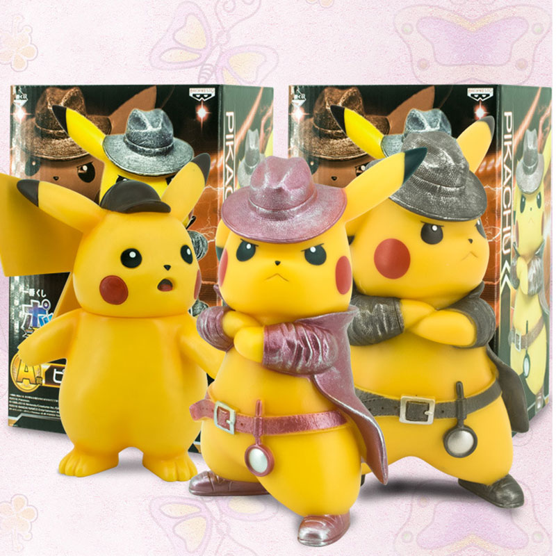 17cm Detective Pikachu Pokemon Pet Elf Cute Cartoon PVC Garage Kit Home Decoration Doll Model