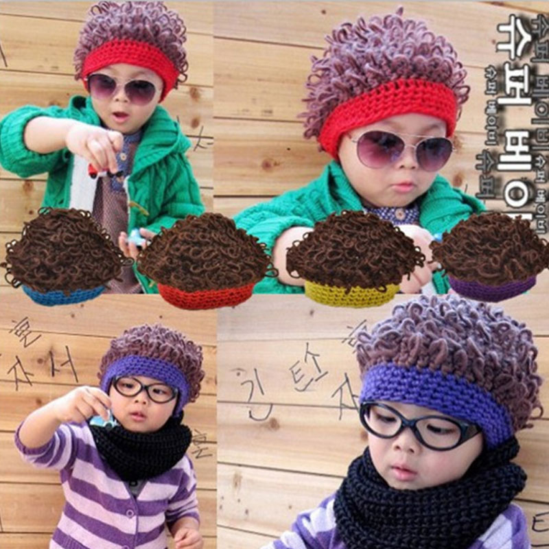 UHLRICHBWER Autumn And Winter Boy Girl Child Explosion Wig Knitted Hat Kids Tide Cap Child Wig Curly Hair Cap Baby Hat S1719