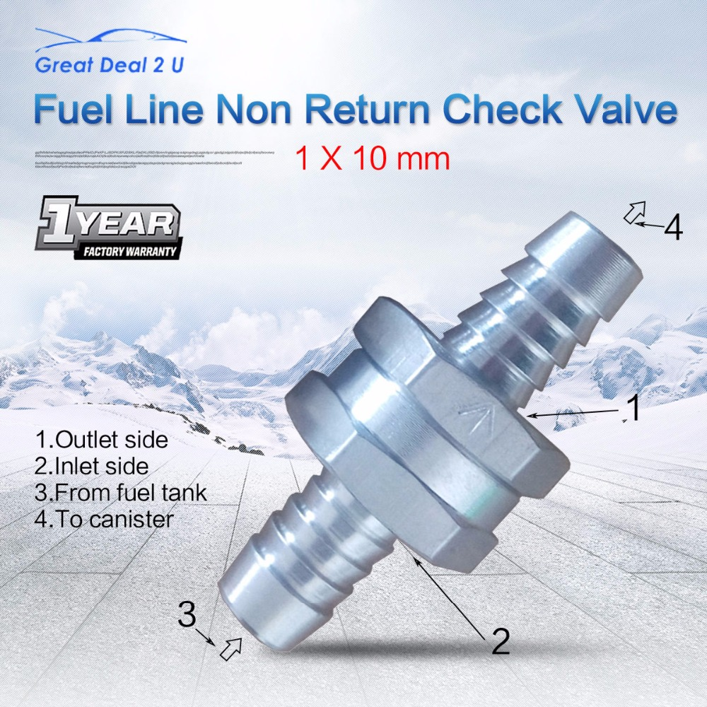 CARBOLE 2pcs Vehicle 10MM Car Styling Aluminums Alloy Fuel Non Return Check Valve One Way Petrol Diesel overall Length 60mmX22mm