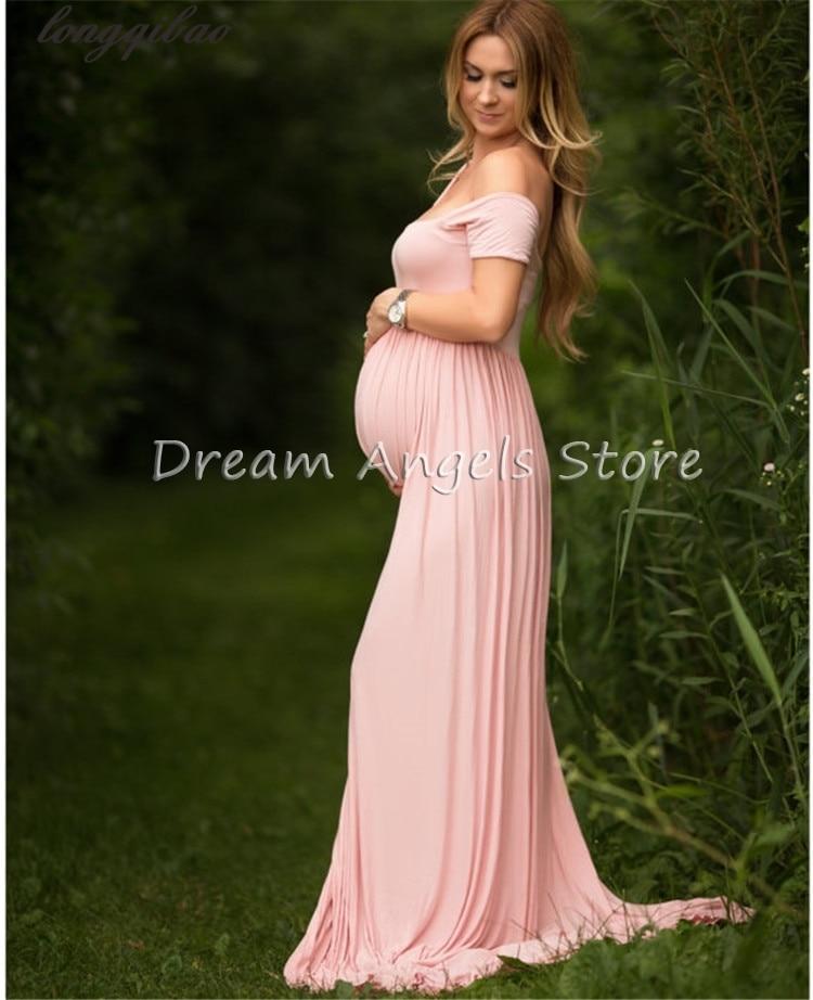 Перед большой ярд стрейч хлопок фотосъемка беременных воротник открытый даже беременных женщин платье вырубать пол платье фотографии