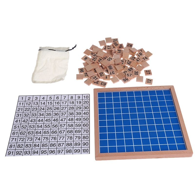 Wooden Montessori Hundred Board Math 1 to 100 Consecutive Numbers Counting Toy-P101