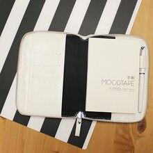 Lian A5 A6 bolsa con cremallera HOBO, planificador creativo, diario de cuero cuaderno de imitación, sin páginas de relleno, Color blanco y Original