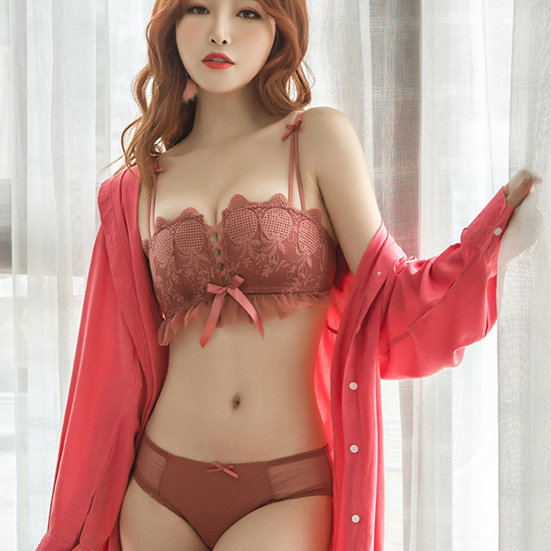 New Sexy Embroidery Lace Underwear Square Cup   Bras   Lovely Bow Push Up   Bra     Set   Hollow Sexy Wire Free Panties Lingerie Female   Sets