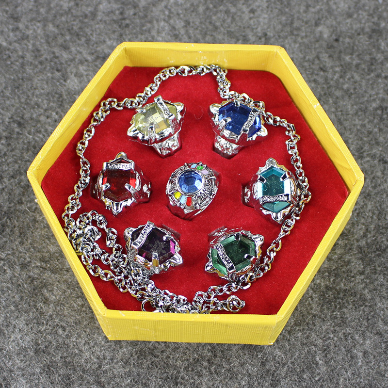 7pcs/set Anime Katekyo Hitman Reborn Sawada Tsunayoshi Cosplay Rings Vongola Rings Set for kids gifts with Retail Box