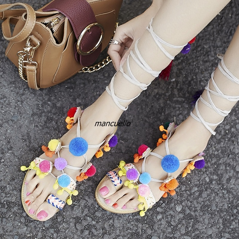 Classy Colorful Pompoms Decorated Clip Toe Gladiator Sandals Pretty Fringe Cross Strap Flat Shoes Women Tassel Lace Up Sandals bohemian style summer celebrity lace up flat shoes pom poms cute sandals skyblue pink colorful clip toe comfortable dress sandal