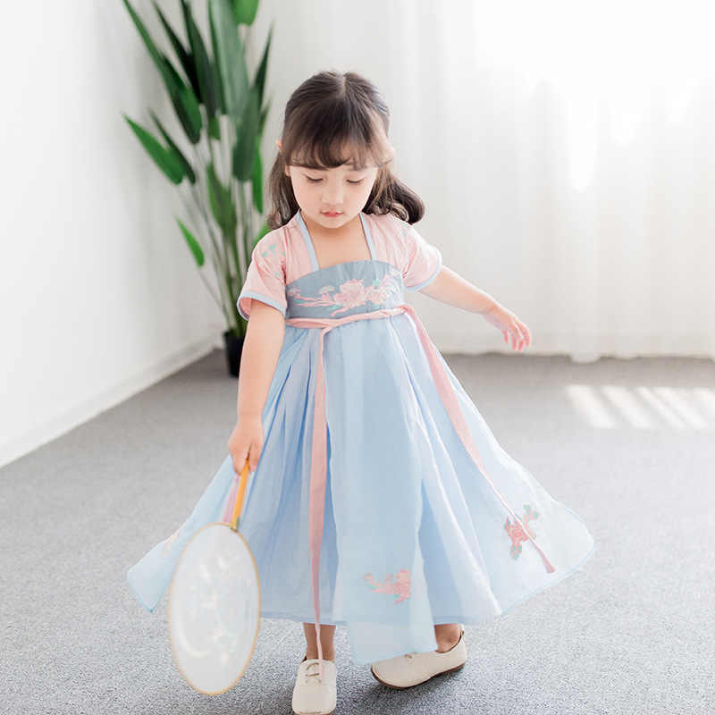 52c96b898f76 ... 2-8 yrs baby girls embroidery floral long dress simple china tang hanfu  children traditional ...