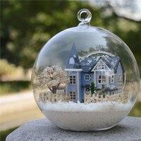 ديي زجاج الكرة مصغرة بيت الدمية نموذج أطقم مع الأثاث الخشبي تجميع دمية لعبة هدايا عيد الفتيات