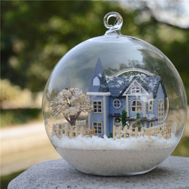 DIY Glass Ball Doll House Model Kits With Furniture Handmade Wooden Miniature Assembling Dollhouse Toy Birthday Girls Gifts
