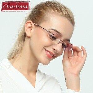 Image 4 - Chashma 브랜드 여성용 프레임 학위 안경 투명 안경 여성용 다이아몬드 색조 렌즈
