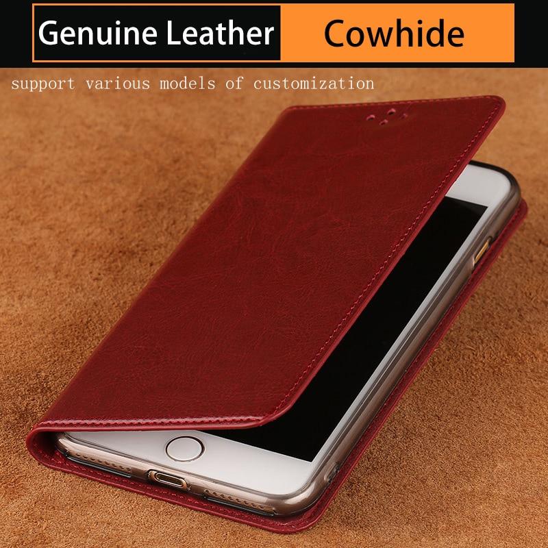 Luxe Véritable housse En Cuir flip Pour iphone 7 Plat et lisse de la cire et l'huile en cuir intérieure En Silicone shell couverture de téléphone