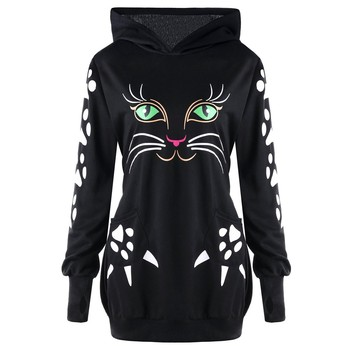 e3965bd52 Women Cat Printed Sweatshirt Hoodie With Cat Ears Pockets Casual Hooded  Pullover Plus Size Pullover Sudadera Mujer #10
