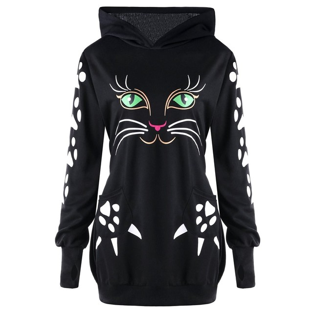 1d23b65cf5fb48 Women Cat Printed Sweatshirt Hoodie With Cat Ears Pockets Casual Hooded  Pullover Plus Size Pullover Sudadera Mujer #10