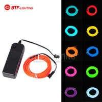 Darmowa wysyłka 3 M elastyczny Neon light EL przewód światła rura linowa 10 kolory wybierz na imprezę taneczną, dekoracja samochodu z kontrolerem