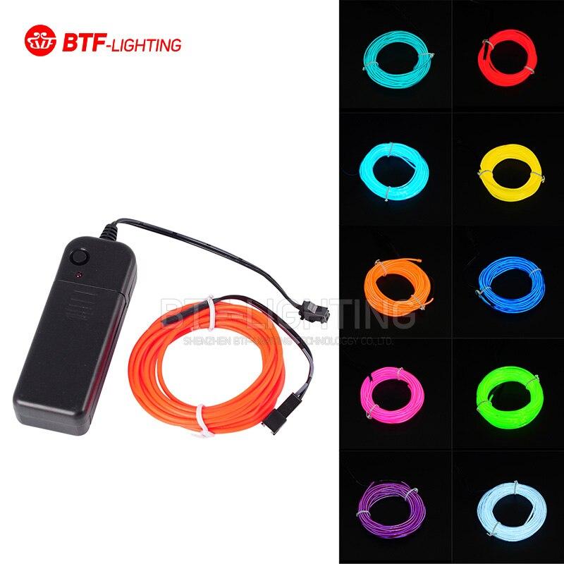 Freeshipping 3 M luz de neón Flexible EL cable de luz tubo 10 colores seleccionados para fiesta de baile, decoración de coche con controlador