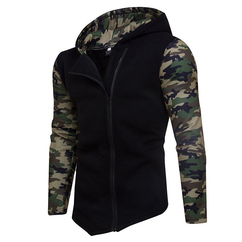HD-DST 2018 New Mens Fashion Hoodies Sweatshirts Hot Sale Casual Camo Spell Color Diagonal Zipper Design Hooed Coat