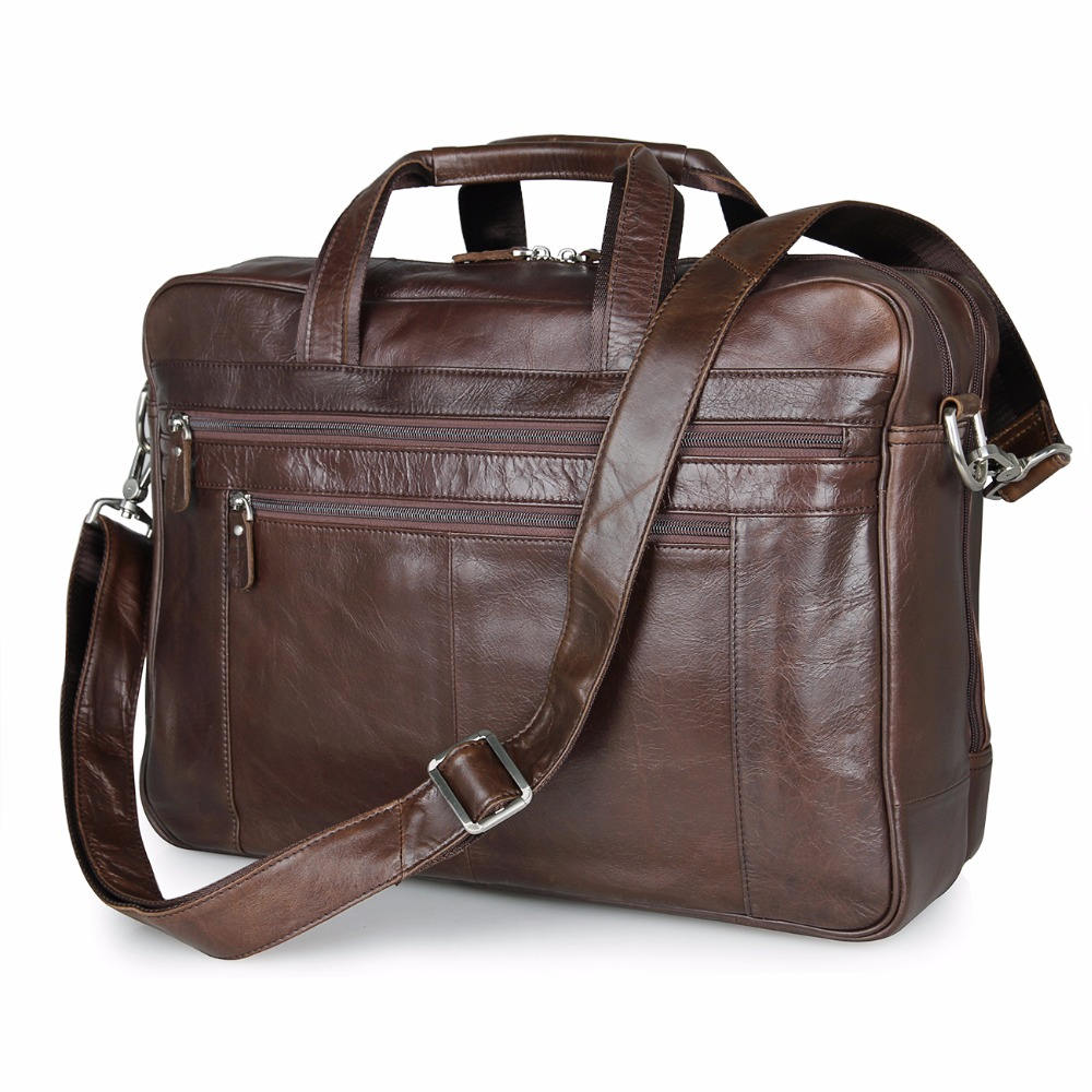 New Genuine Cow Leather Mens Travel Bag Big Capacity Business Laptop Bag Classic Large Compartment Briefcase Bag 7319C-1