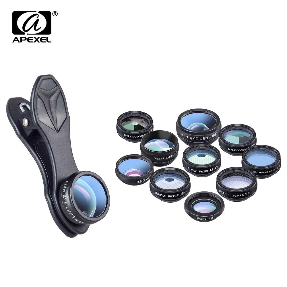 APEXEL 10 em 1 Kit Olho de Peixe Grande Angular macro Lente da câmera Do Telefone Lente CPL Filtro de Lente do telescópio Caleidoscópio e 2X para o smartphone