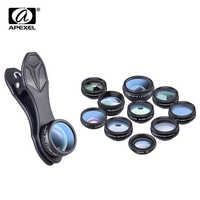 APEXEL 10 en 1 Kit de lente de cámara de teléfono Fisheye gran angular macro lente CPL filtro caleidoscopio y 2X lente telescopio para smartphone