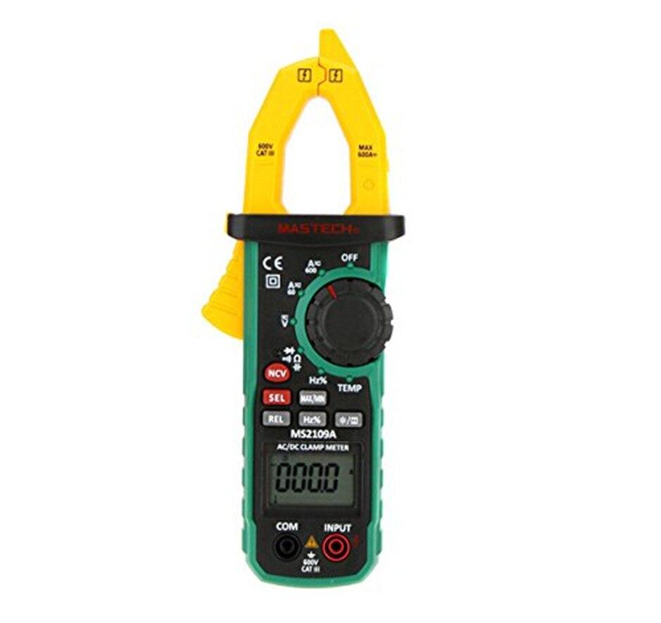 Mastech MS2109A Auto Faixa de Multímetro Digital AC DC Medidor de Pinça de Corrente HZ Tester Temp Capacitância com NCV Detector