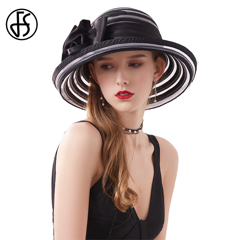 c9a5e3c1 FS Summer Black White Wide Brim Fascinators Sinamay Hat For Women Elegant  Wedding Tea Party Hats Church Fedora Chapeau Femme-in Women's Fedoras from  Apparel ...