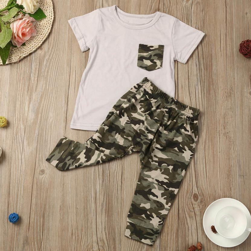 MUQGEW baby clothes for newborns Summer T shirt kids boy Tops Camouflage Pant Clothes Set baby girl outfit baby suit cotton