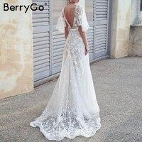 BerryGo women long dresses Elegant embroidery dress mesh Summer bat sleeve maxi chiffon dress Evening celebrity party vestidos