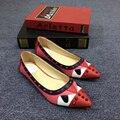 Женская обувь 2016 марка плоские туфли Весна люксовый бренд Монстр женская обувь Женщины кожаные мокасины квартиры с заклепками