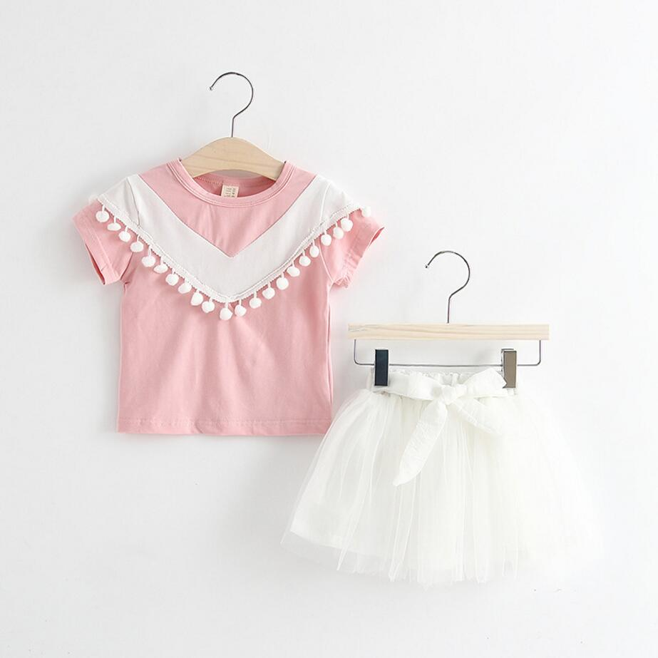 2017 2Pcs Lot Newborn Infant Baby Girls Clothing Sets Cotton Summer T Shirt Skirts Baby Fashion