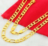 2015 Hot Selling Trendy Style 24k Gold Plated Thin Link Chain Necklace For Women Girls Free