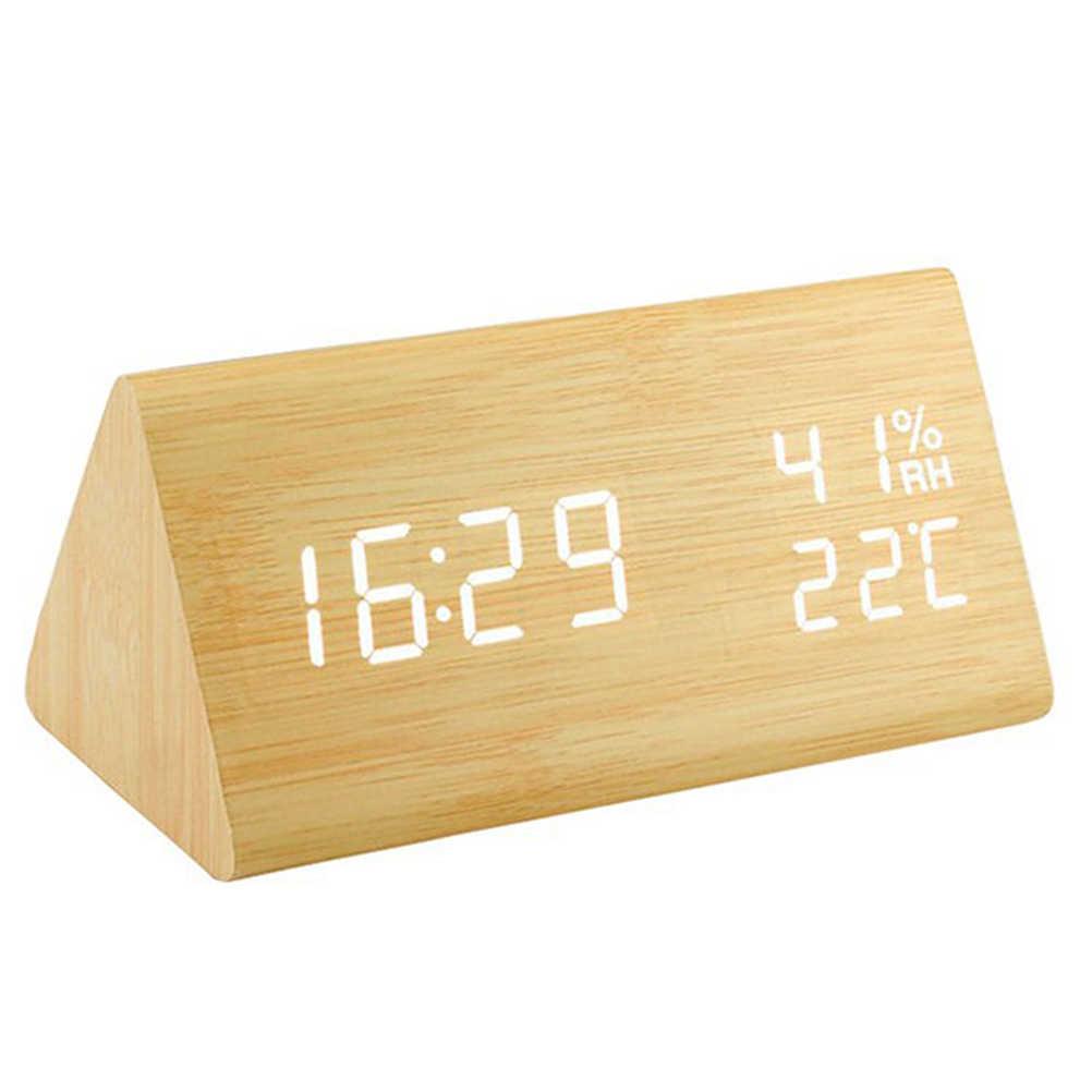 Sáng Tạo LED Đồng Hồ Bằng Gỗ Despertador Nhiệt Độ Độ Ẩm Điện Tử Máy Tính Để Bàn Kỹ Thuật Số Đồng Hồ Để Bàn Phòng Ngủ Đồng Hồ Báo Thức