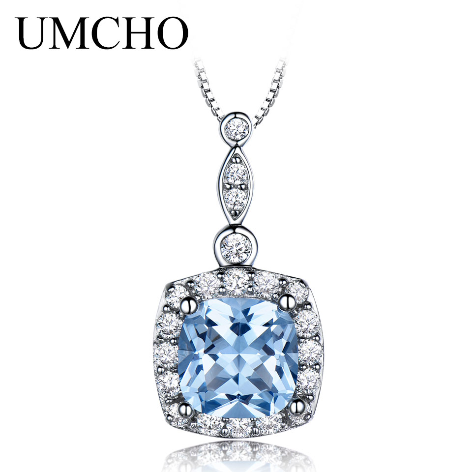 UMCHO 925 Sterling Silver Necklaces Pendants Sky Blue Topaz Necklace For Women Engagement Wedding Gift Stone Jewelry With Chain