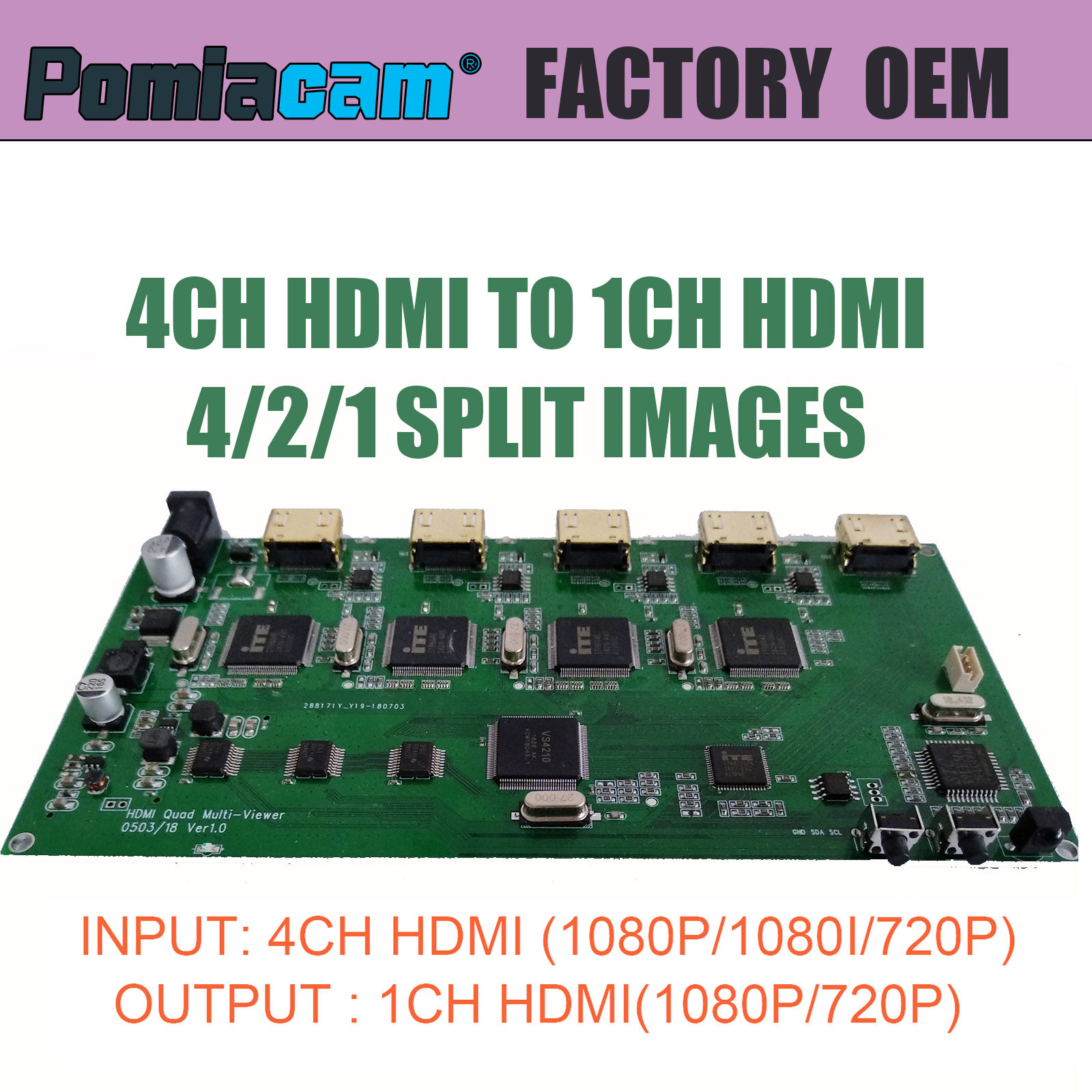 HD30 factory 4CH HDMI to 1CH HDMI video multiple split images converter ,4 split images in one screen , for computer game