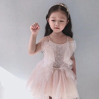 girls dress princess party dress solid pink beading boutique kids clothes