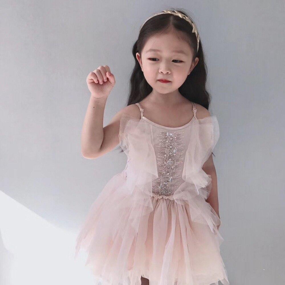 Filles robe princesse robe de soirée solide rose perles boutique enfants vêtements