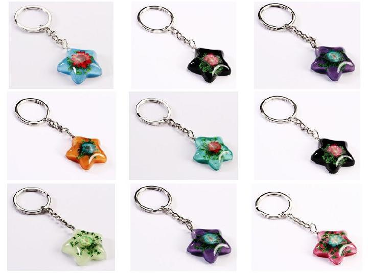 FREE SHIPPING 50PCS Real China Mix Colorful Rose Keychain Flower Charm Valentines