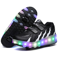 NEW 201 Children Wheels Shoes With LED Lighted PU Leather Two Wheel Kids Roller Shoe Boy & Girls Fashion Sport Casual Sneakers