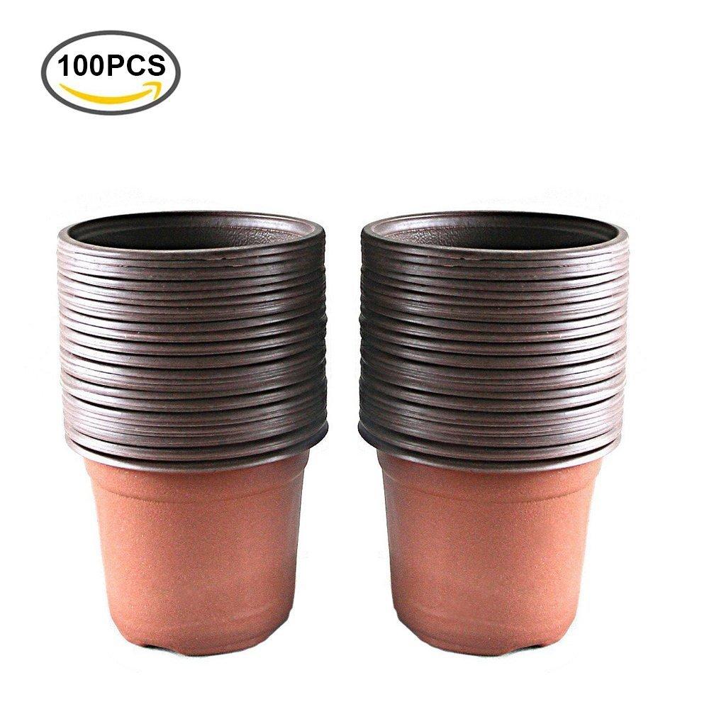 "100 Pcs 4"" Plastic Plants Nursery Pot/Pots Seedlings Flower Plant Container Seed Starting Pots"