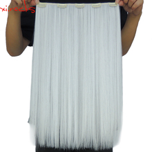2 Piece X Clip in Hair Extension 50cm Synthetic Clips Extensions 50g Straight Hairpin Hairpiece Snow Whit Color 1001