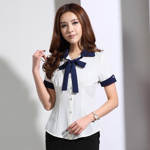 New 2015 Summer Fashion White Blouses Women Short Sleeve Shirts