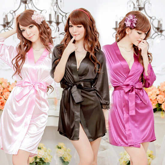 61aa851985 New 2017 Hot Fashion 1 PC Satin Gown Dress Women s Nightwear Bath Robe Ice  Silk Sleepwear