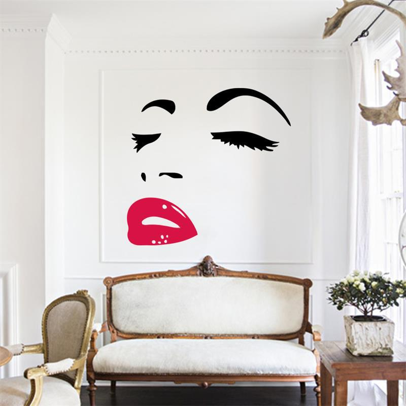 labios rojos de dama de la moda pegatinas de pared decoracin de pared decorativos d pegatinas
