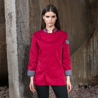 2019 Food Service Long Sleeve Restaurant Chef Clothes Red Kitchen Chef jacket women