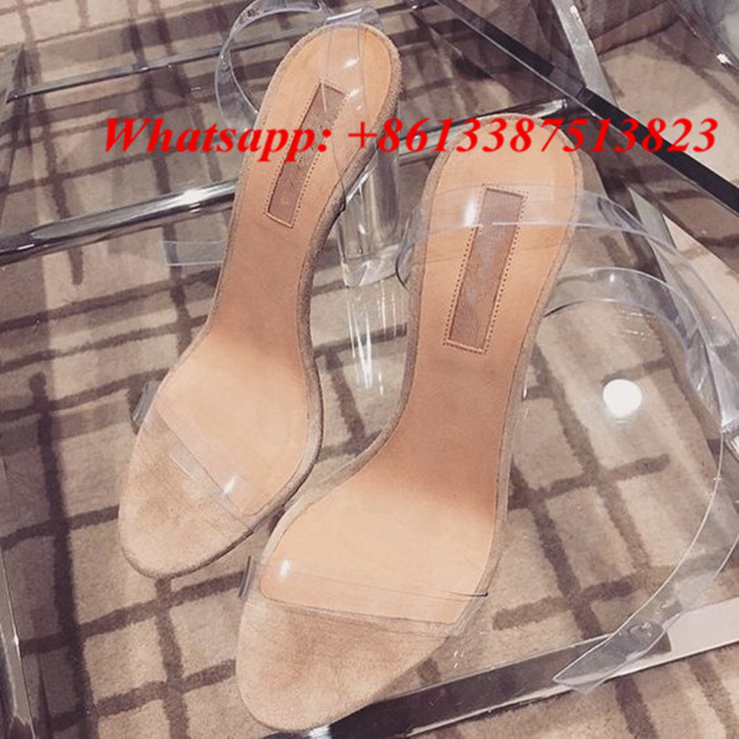 ФОТО Summer Transparent PVC Perspex Clear Lucite High Heels Sandals Sexy Ankle Strappy Celebrity Sandalias Mujer Ladies Shoes Woman